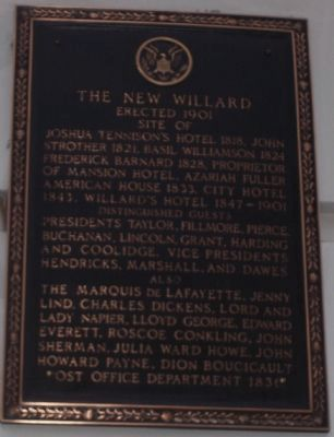 The New Willard Marker image. Click for full size.