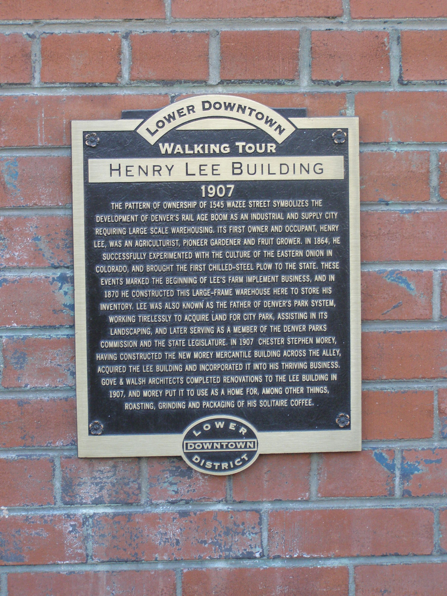Lower Downtown Walking Tour - Henry Lee Building Marker
