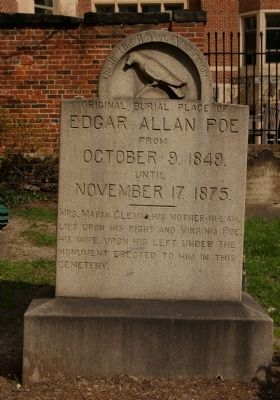 Original Burial Place of Edgar Allan Poe Marker image. Click for full size.