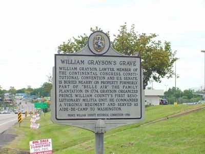 William Grayson�s Grave Marker Photo, Click for full size