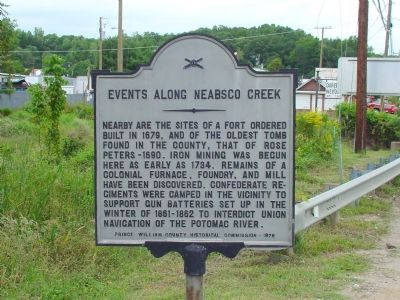 Events Along Neabsco Creek Marker image. Click for full size.