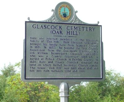 Glascock Cemetery (Oak Hill) Marker image. Click for full size.