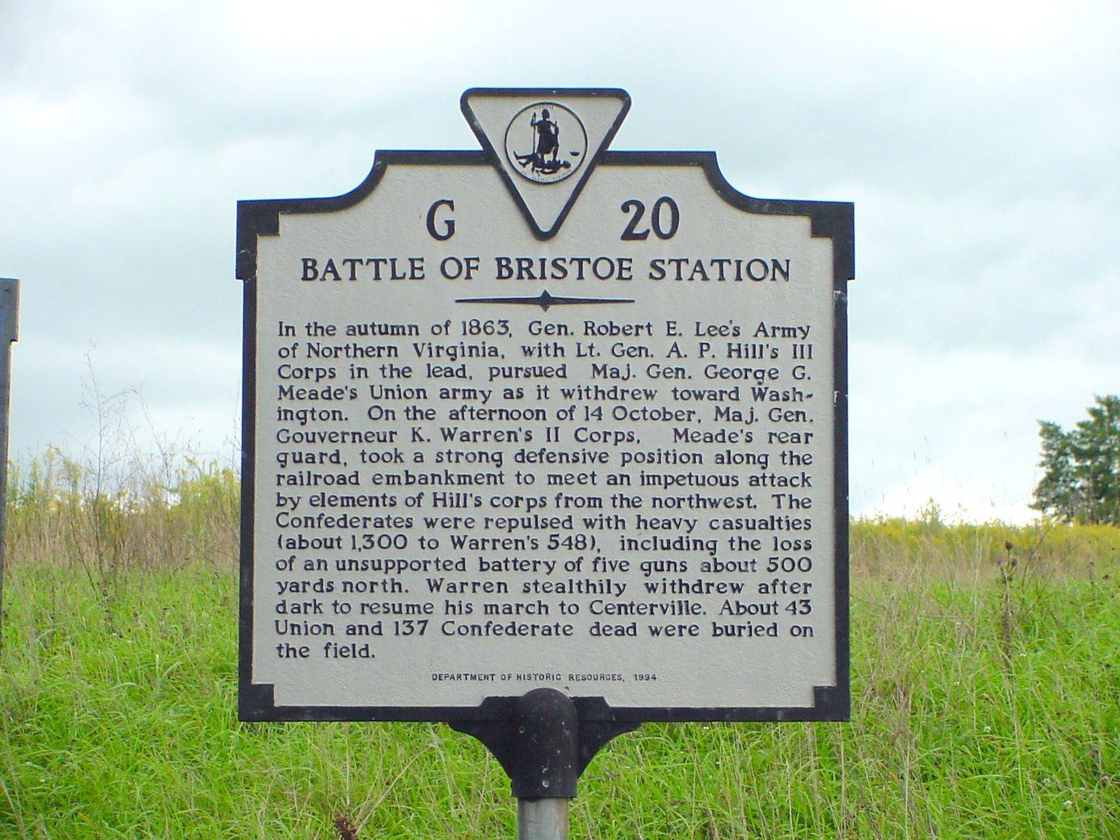 Battle of Bristoe Station Marker
