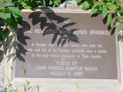 The Reverend John Roads (Rhodes) Marker image. Click for full size.