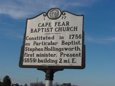 Cape Fear Baptist Church Marker image. Click for full size.