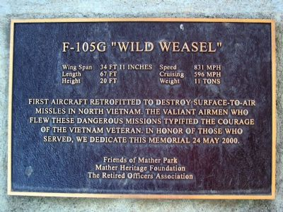 "F-105G ""Wild Weasel"" Marker image. Click for full size."