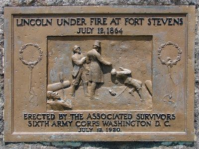 Lincoln Under Fire at Fort Stevens Marker Photo, Click for full size