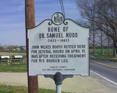 Home of Dr. Samuel Mudd Marker image. Click for full size.