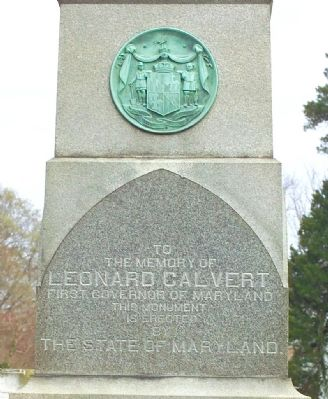 Leonard Calvert Monument, West Face image. Click for full size.