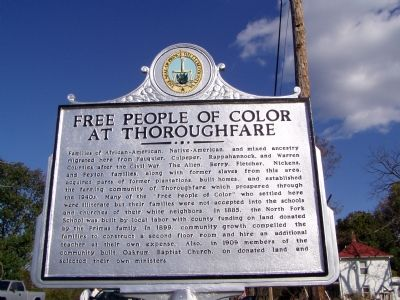 Free People Of Color At Thoroughfare Marker image. Click for full size.