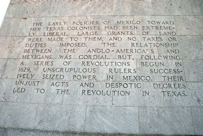 First of the eight paragraphs about the birth of Texas on the monument Photo, Click for full size