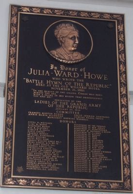 "Julia Ward Howe - ""Battle Hymn of the Republic"" Marker. Photo, Click for full size"