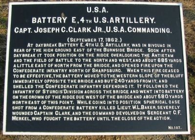 Battery E, 4th U.S. Artillery Tablet image. Click for full size.