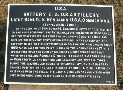 Battery E, 2nd U.S. Artillery Tablet image. Click for full size.
