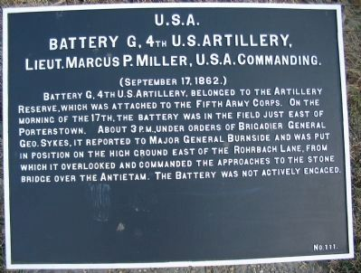 Battery G, 4th U.S. Artillery Tablet image. Click for full size.