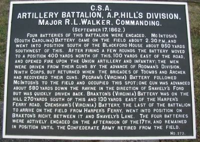 Artillery Battalion, A.P. Hill's Division Tablet image. Click for full size.