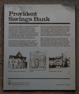 Provident Savings Bank Marker image. Click for full size.
