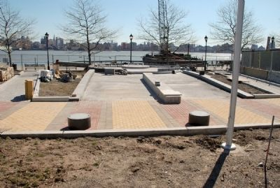 Site of new Hoboken World War II Memorial viewed from Frank Sinatra Drive. image. Click for full size.