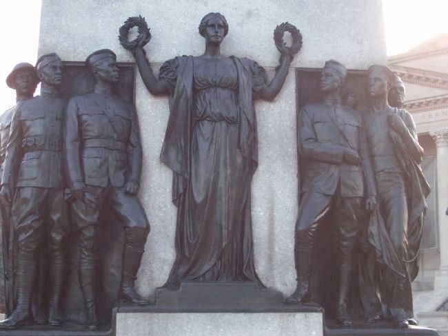 "Five Soldiers and a Sailor, with the allogorical Lady Justice holding ""Honor"" and ""Reward"" image. Click for full size."