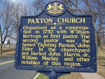 Paxton Church Marker image. Click for full size.