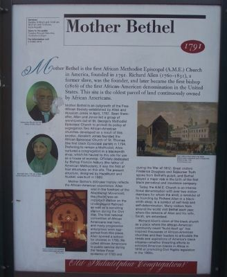 Mother Bethel Marker image. Click for full size.