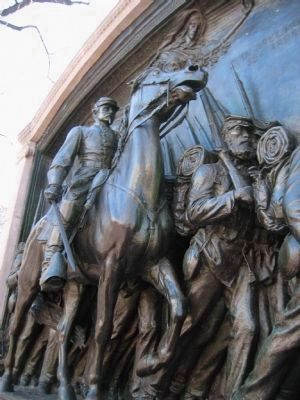 Robert Gould Shaw in the memorial's relief image. Click for full size.