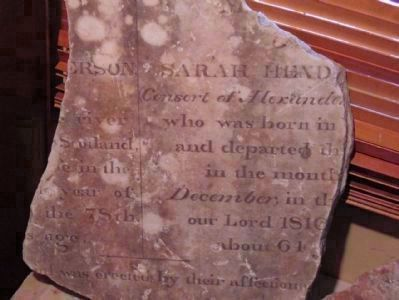 Piece of original gravestone of Alexander and Sarah Henderson Photo, Click for full size