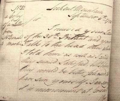 Beginning of Letter from James McDonald to Col. Martin Photo, Click for full size