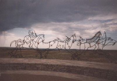 """Peace Through Unity"" Indian Memorial at Little Bighorn Battlefield NM. Dedicated June 25, 2003. image. Click for full size."