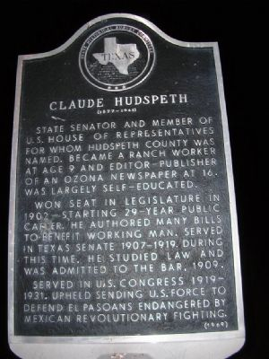 Claude Hudspeth Marker image. Click for full size.