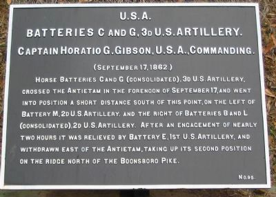 Batteries C and G, 3rd U.S. Artillery Tablet image. Click for full size.