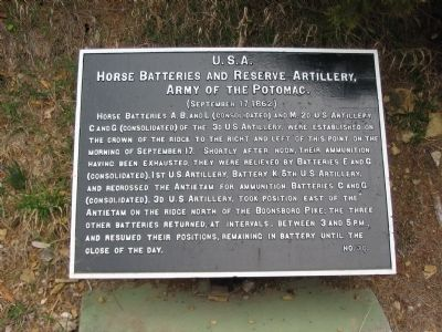 Horse Batteries and Reserve Artillery Tablet image. Click for full size.