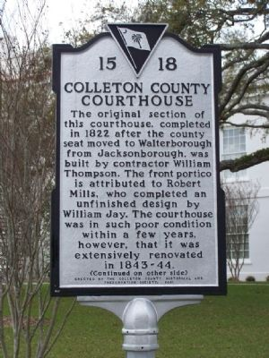 Colleton County Courthouse Marker image. Click for full size.