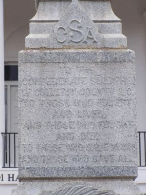 Confederate Monument Marker's front face Photo, Click for full size