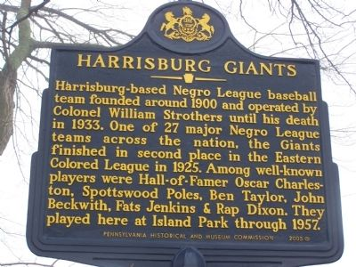 Harrisburg Giants Marker Photo, Click for full size