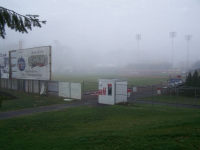 Riverside Stadium in early morning fog. Photo, Click for full size