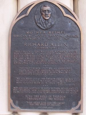 Memorial to the founder, Richard Allen image. Click for full size.