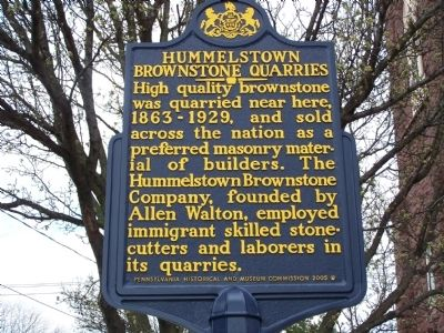 Hummelstown Brownstone Quarries Marker image. Click for full size.