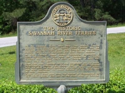 Two Historic Savannah River Ferries Marker image. Click for full size.