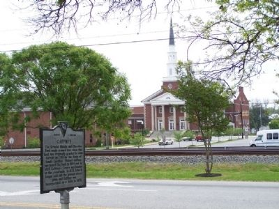 Gaffney Marker, with First Baptist Church in distant Photo, Click for full size