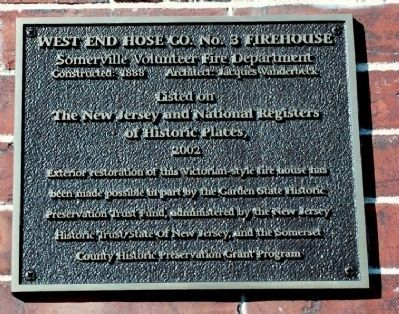 West End Hose Company No. 3 Firehouse (upper left of fire house doors) image. Click for full size.