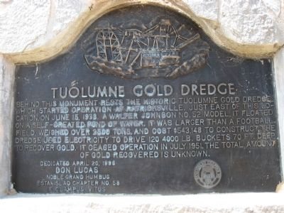 Tuolumne Gold Dredge Marker Photo, Click for full size