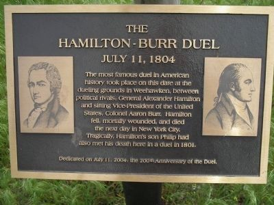 The Hamilton-Burr Duel Marker Photo, Click for full size