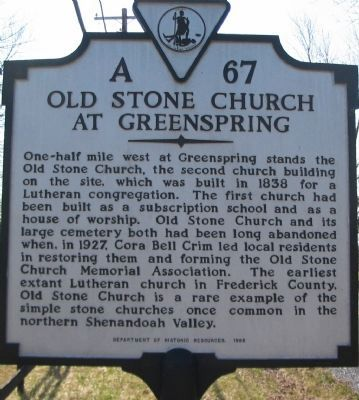 Old Stone Church at Greenspring Marker image. Click for full size.