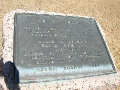 Crockett County Marker image. Click for full size.