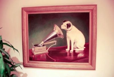 "Oil painting of ""Nipper the Dog"" image. Click for full size."