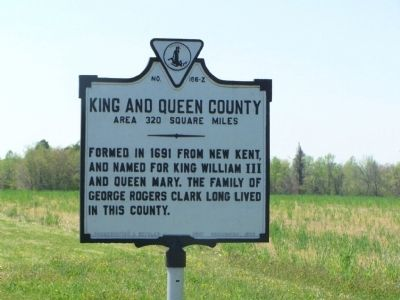 King and Queen County Marker (obverse) image. Click for full size.