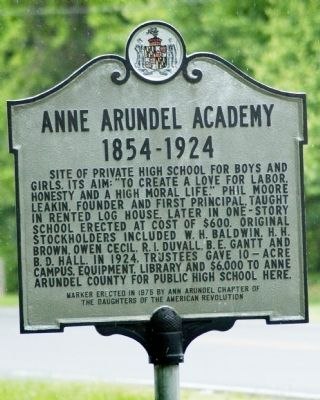 Anne Arundel Academy Marker image. Click for full size.