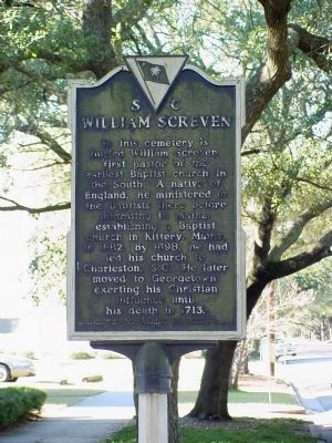 William Screven Side of Marker Photo, Click for full size