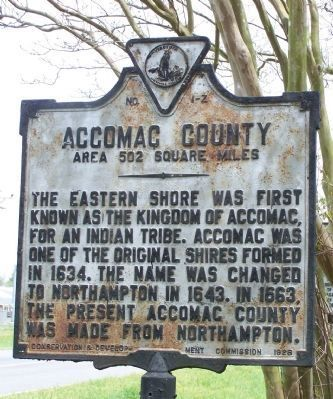 Acccomac County side of marker. image. Click for full size.